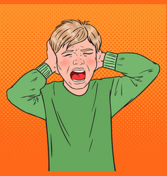 Pop art angry screaming boy tearing his hair vector
