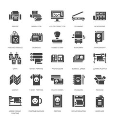 Printing house flat glyph icons print shop vector