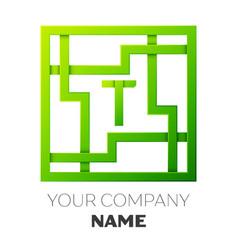 Realistic letter t symbol in colorful square maze vector