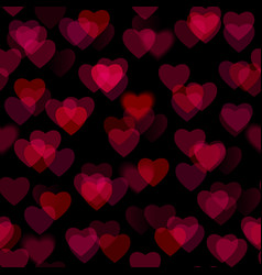 Red heart shapes isolated on black background vector