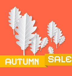 Retro Autumn Sale Background With Oak Leaves on vector image