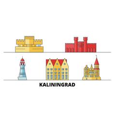 Russia kaliningrad city flat landmarks vector
