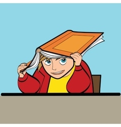 schoolboy Desk textbook vector image