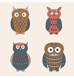 set of decorative cute owls vector image