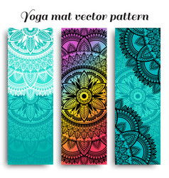 Set yoga mats with ethnic designs turquoise vector