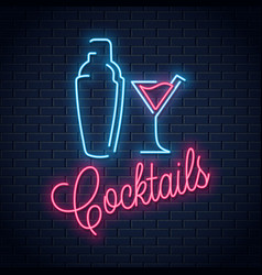 Shaker neon logo cocktail party neon sign vector