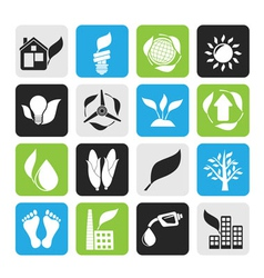 Silhouette environment and nature icons vector image