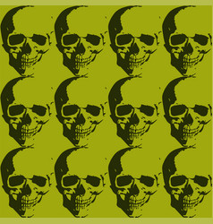 Skulls and roses collage background with several vector