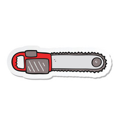 Sticker of a cartoon chainsaw vector