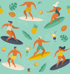 summer beach seamless pattern in surf vector image