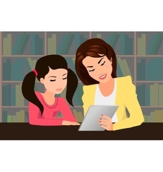 Teaching with a tablet PC vector image