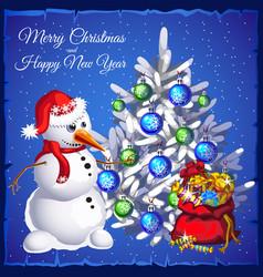 template christmas card snowman near christmas vector image