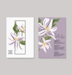 Tender botanical wedding magnlia invitation card vector