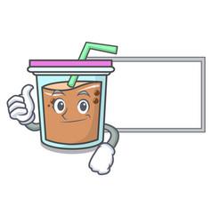 Thumbs up with board bubble tea character cartoon vector