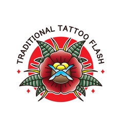 traditional flower tattoo flash vector image