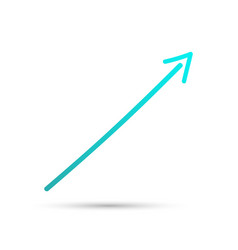 Turquoise obliquement arrow sign symbol and icon vector