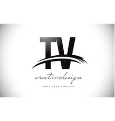 Tv t v letter logo design with swoosh and black vector