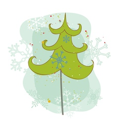 vintage christmas tree card vector image