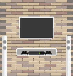 Wall brick with tv and game console hanging on it vector