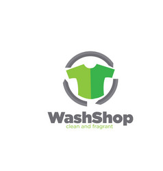 Wash shop laundry logo designs simple modern vector