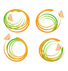 Waves with butterfly logo vector
