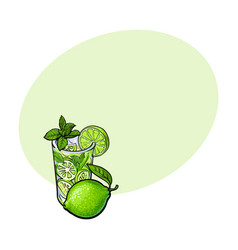Whole lime and glass of juice mojito cocktail vector
