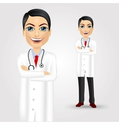 young doctor with crossed arms vector image
