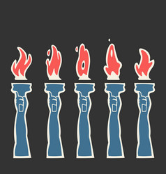 Burning fire torch animation vector