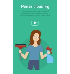 Cleaning service flat style web banner vector