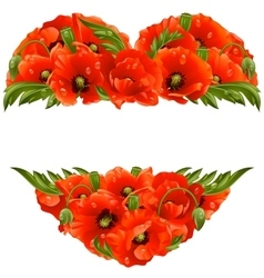 poppy frame in the shape of heart vector image vector image