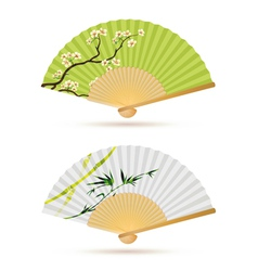 two japanese folding fans vector image vector image