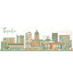 Abstract Topeka Skyline with Color Buildings vector image vector image