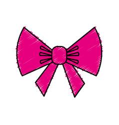 bow ribbon decorative icon vector image