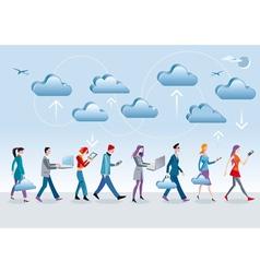 Cloud Computing Walking vector image vector image