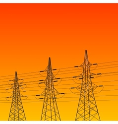 Electric pylon at sunset vector image vector image