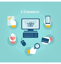 Flat design concept of online shop and e commerce vector image vector image