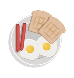 Food plate with eggs bread sausace vector