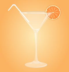 Glass for martini with orange and plastic tube vector image vector image