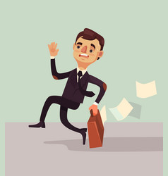 office worker man character hurry and late vector image vector image