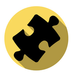 puzzle piece sign flat black icon with vector image