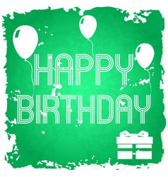 happy birthday on the green old paper background vector image vector image