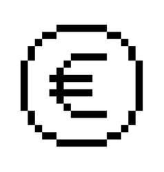 pixel euro icon vector image vector image