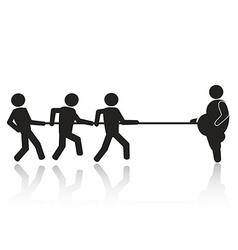 tug-of-war businessmen stick figures vector image vector image