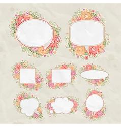 drawn floral bubbles vector image vector image