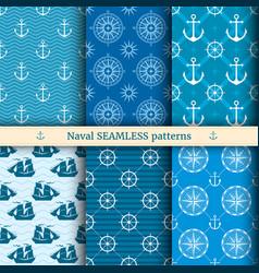 marine nautical sea seamless patterns set vector image