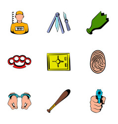 prisoner icons set cartoon style vector image vector image