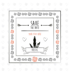 save the date floral rustic frame decorative vector image vector image