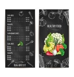 Vegetarian healthy food menu chalk sketch vector image vector image