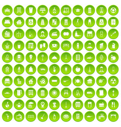 100 cleaning icons set green circle vector