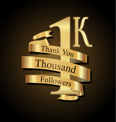 1000 followers with thank you with golden ribbon vector